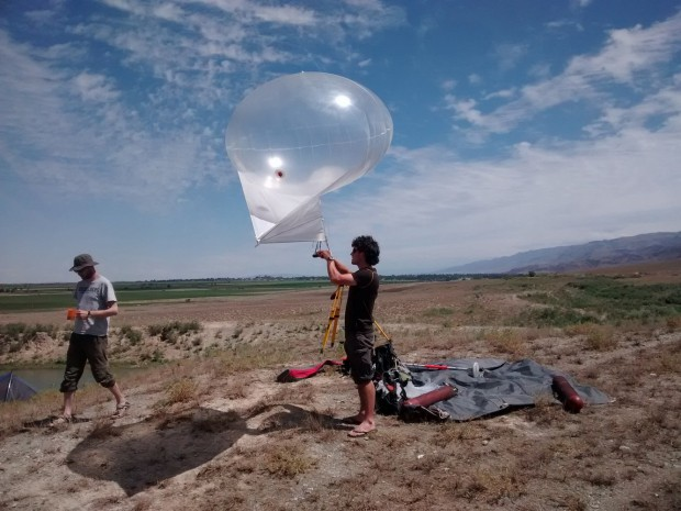The helium balloon carrying the camera.