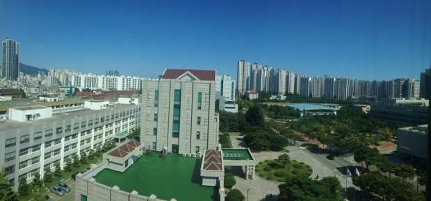The Pukyoung National University campus in Busan  as seen from my guesthouse room