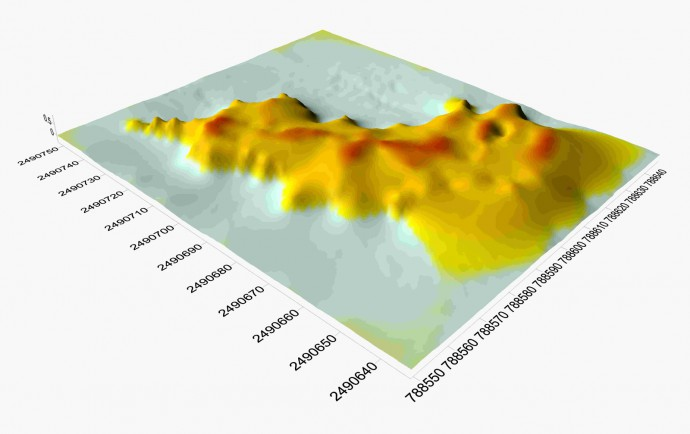3d view of the event layer's thickness