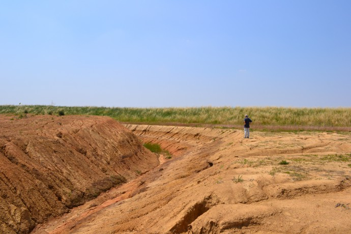 A nice shot on the pedostratigraphic horizon in a  3D perspective thanks to the extensive quarry activity performed at the site. Alessandro Michetti for scale.