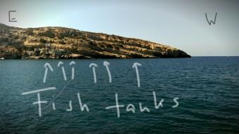 Location of submerged Roman fish tanks in Matala, Crete