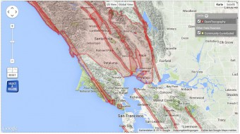 Topography data coverage in California, available via OpenTopography.
