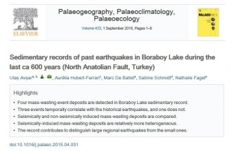 Sedimentary records of past earthquakes in Boraboy Lake during the last ca 600 years (North Anatolian Fault, Turkey)