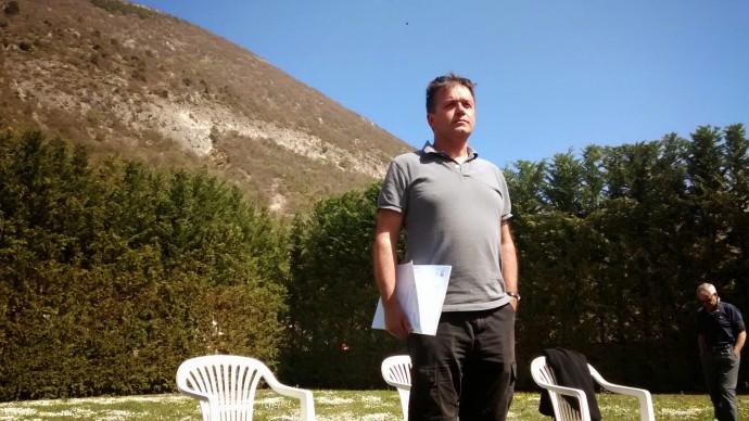 Gerald Roberts in front of the Serrone fault escarpment