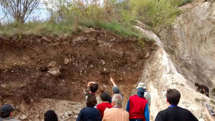 Fault plane crops out in the Venere quarry, trench site.