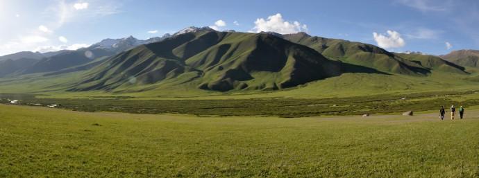 An alluvial fan in the Suusamyr valley.