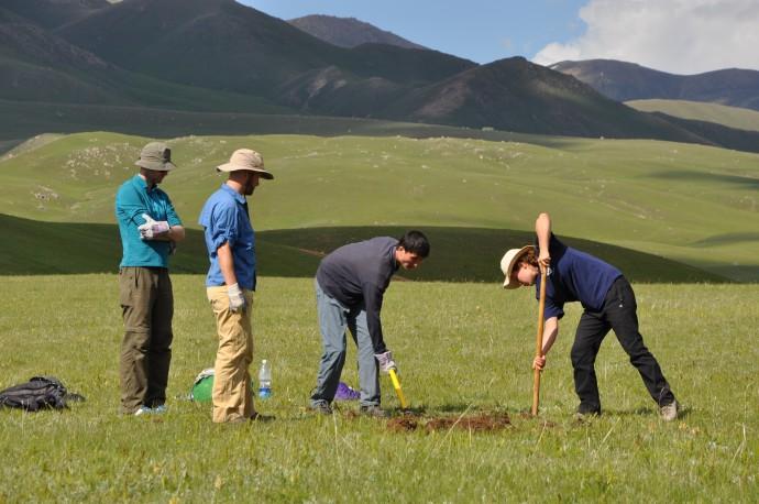 Digging sample pits