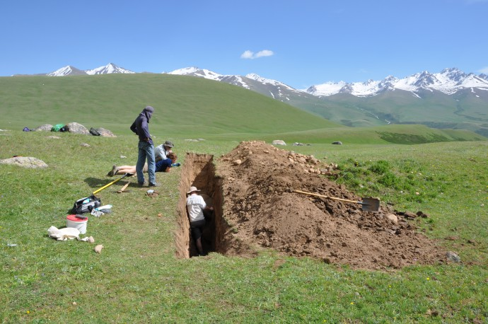 We dug a 10 m long trench by hand...