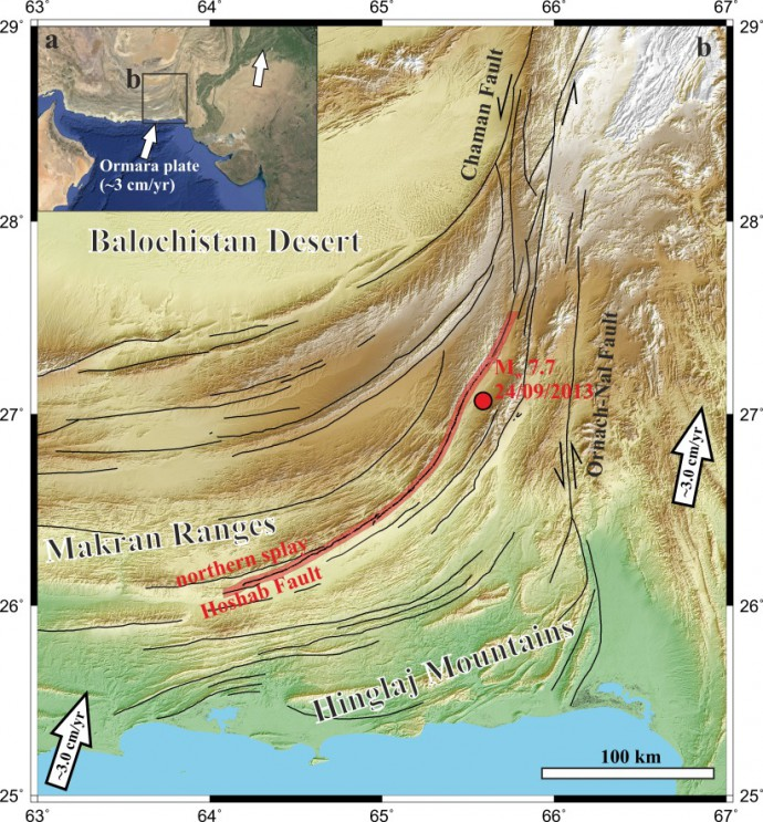 Fault map of the eastern Makran (Zhou et al., 2015)
