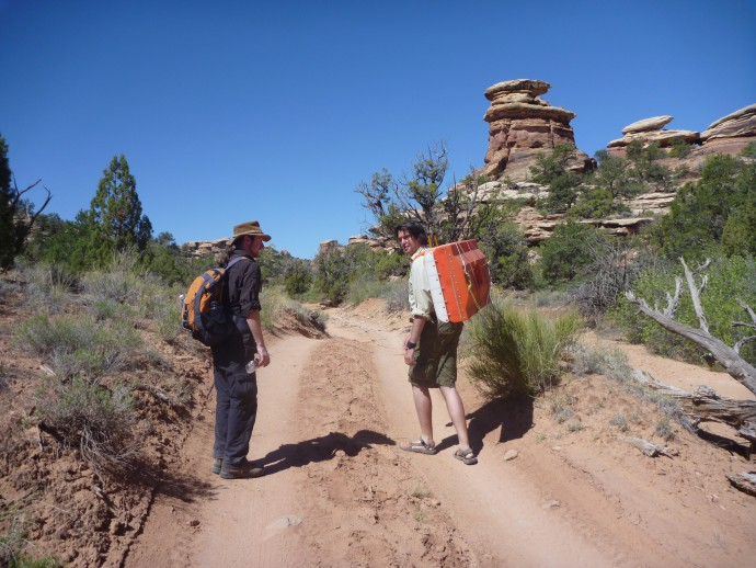 Carrying the equipment to the study site.