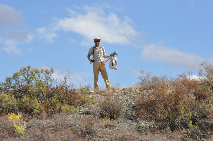 Austin with the DGPS. We shared often shared the field work like this: I dug some sampling pits with the help of our Kazakh and Kyrgyz colleagues, while he recorded km-long DGPS profiles, encountering bear poo, scorpions and the most ugly spiders you can imagine.