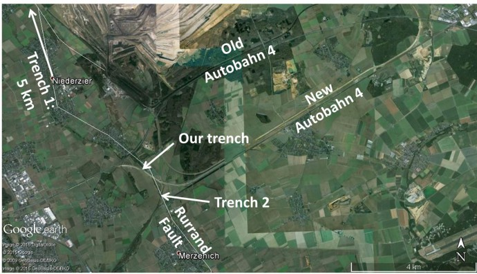 The location of our trench and two older trenches (1 and 2) dug by colleagues a few years ago.