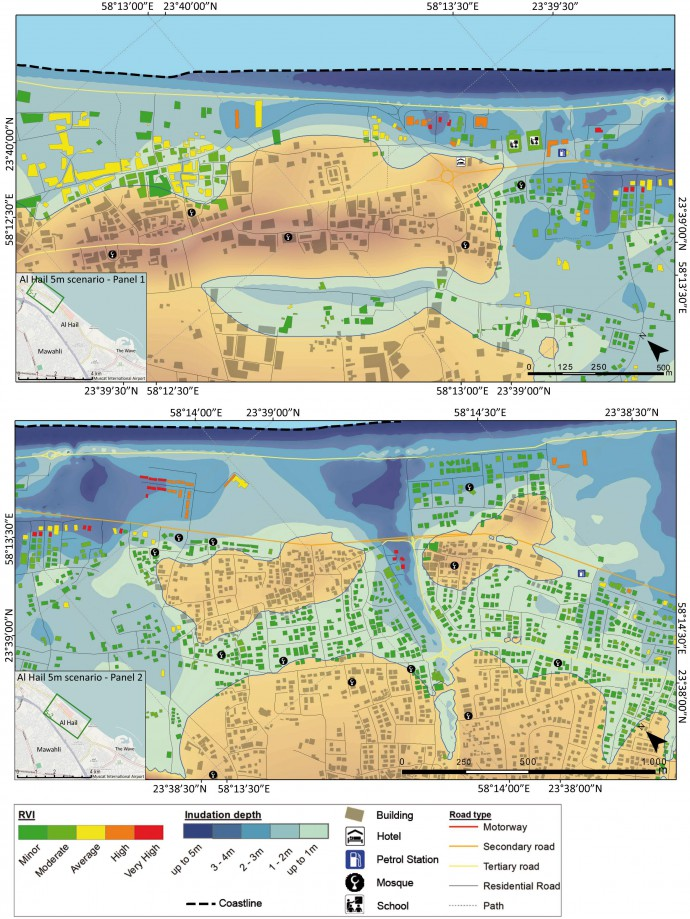 An example of the flooding extent and the RVI values for the 5m scenario in Al Hail.