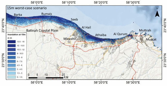 A map of the 15m worst-case scenario reveals the extensive inundated areas.