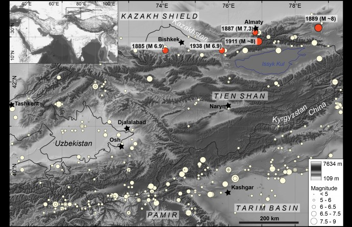 Map of the study area and location of the great earthquakes.