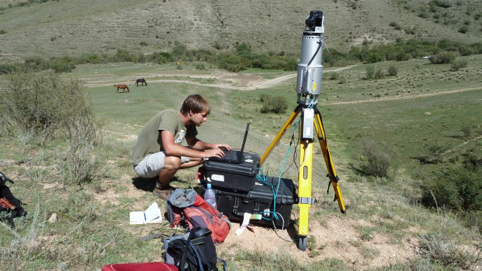 Setting up a laser scanner.