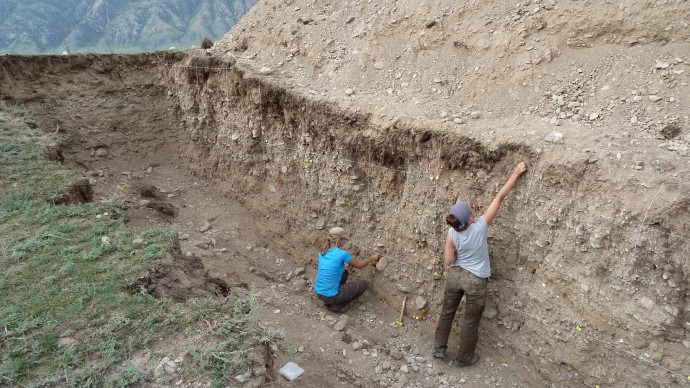 Working in the trench.
