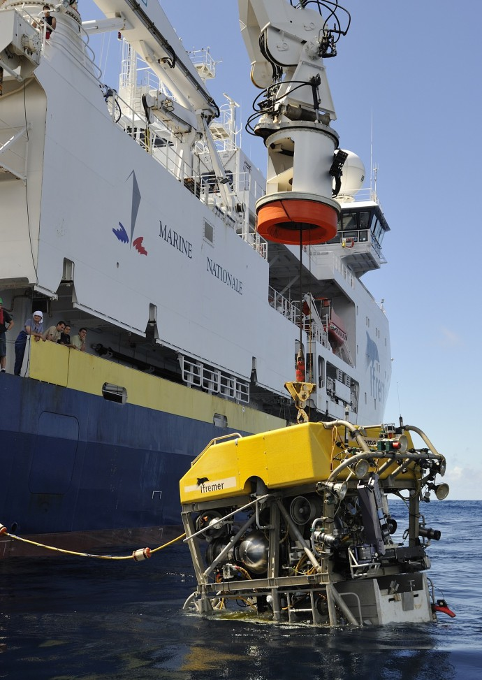 ROV Victor6000 (IFREMER), being deployed during the ODEMAR cruise in 2013. Victor can acquire high-definition video imagery in addition to near-bottom multi beam bathymetry. It is also equipped with arms for sampling.
