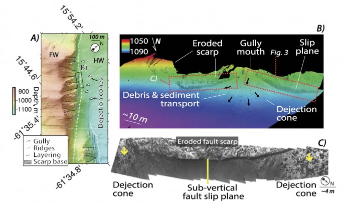 AUV high-resolution bathymetry of the Roseau Fault scarp (A) showing erosion channels along the scarp face. The ROV microbathymetry reveals subvertical fault planes preserved between gullies, that feed dejection cones (B). Seafloor photomosaics acquired with the ROV show that the fault slip surfaces have a curved structure (C)