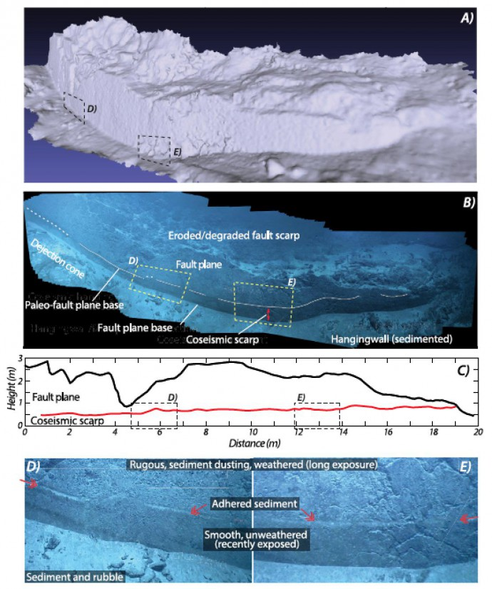 3D terrain model of a subvertical fault slip plane derived from video imagery using structure from motion techniques (A). The videomosaic shows the smooth fault surface that is preserved below the eroded fault scarp, and shows a line that mimics the geometry of the base of the slips surface (B). The coseismic displacement, that is estimated at ~0.5 - ~0,9 m along this fault slip plane (C), is measured from the imagery mapped on the 3D model (A and B). Details of the coseismically exposed fault surface show a change in texture of the fault plane due to weathering,and the limit between the weathered and unweathered fault surface corresponds to a line of adhered sediment (D,E)