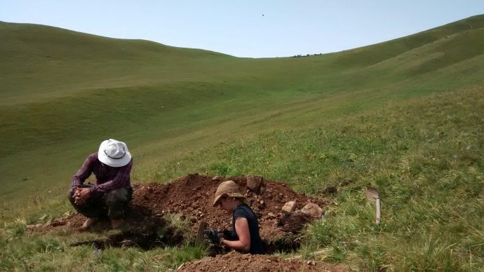 How old is this scarp? Let's dig a pit and find out.