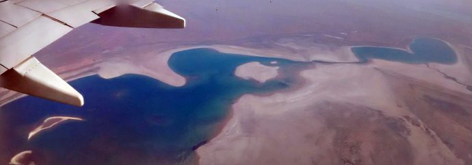 On the flight back I've seen what is left from the Aral Sea.