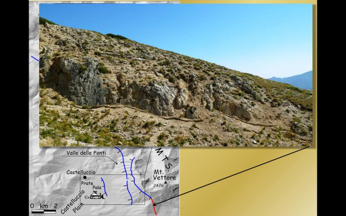 Here is the surface faulting of the Central Italy earthquake of August 24 (Mw 6.0). The photo was shot at the southern tip of the Mt Vettore normal fault, which was trenched some years ago by Galadini and Galli (2003).