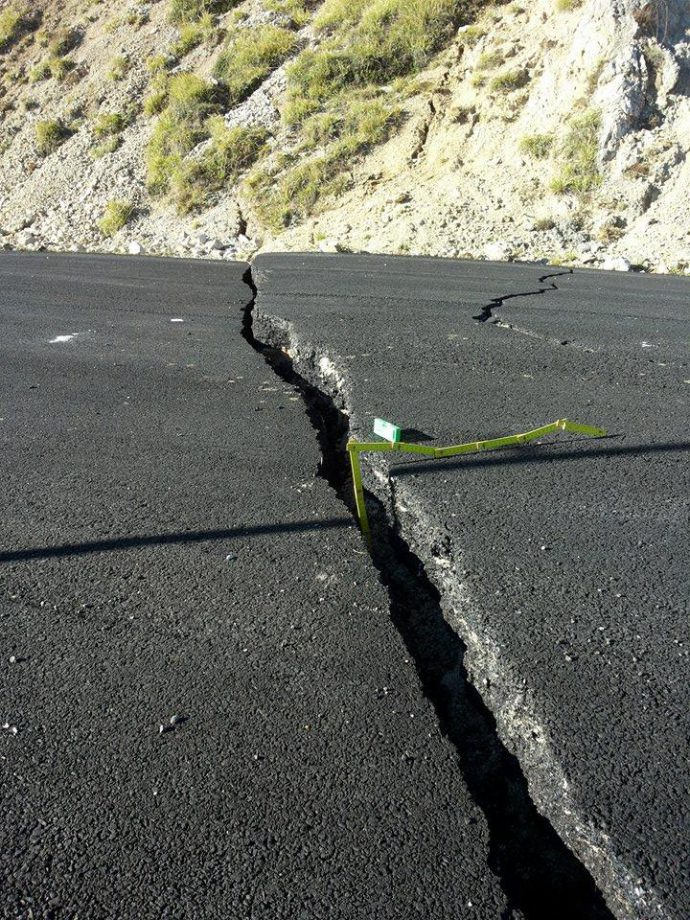 11 cm of slip across the road already ruptured on August 24 Mw 6.2 event. The road was restored and cut today again