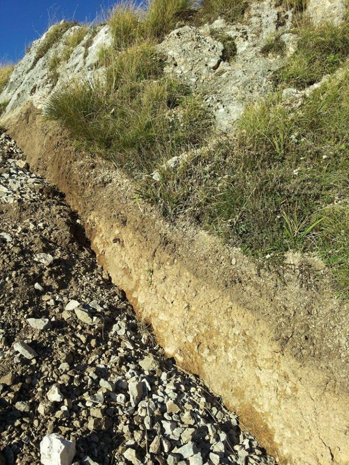 Here is the surficial slip along one of the synthetic splay of the Mount Vettore fault (Mw 6.5 of today in central Italy)