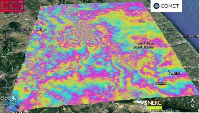 Sentinel-1 interferogram of the 26 October earthquakes provided by NERC COMET.