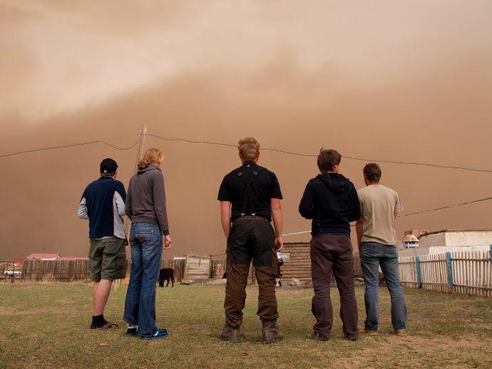 A huge sandstorm - aeolian sediment transport in action.